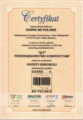 szycie odzieży certyfikat dobre bo polskie